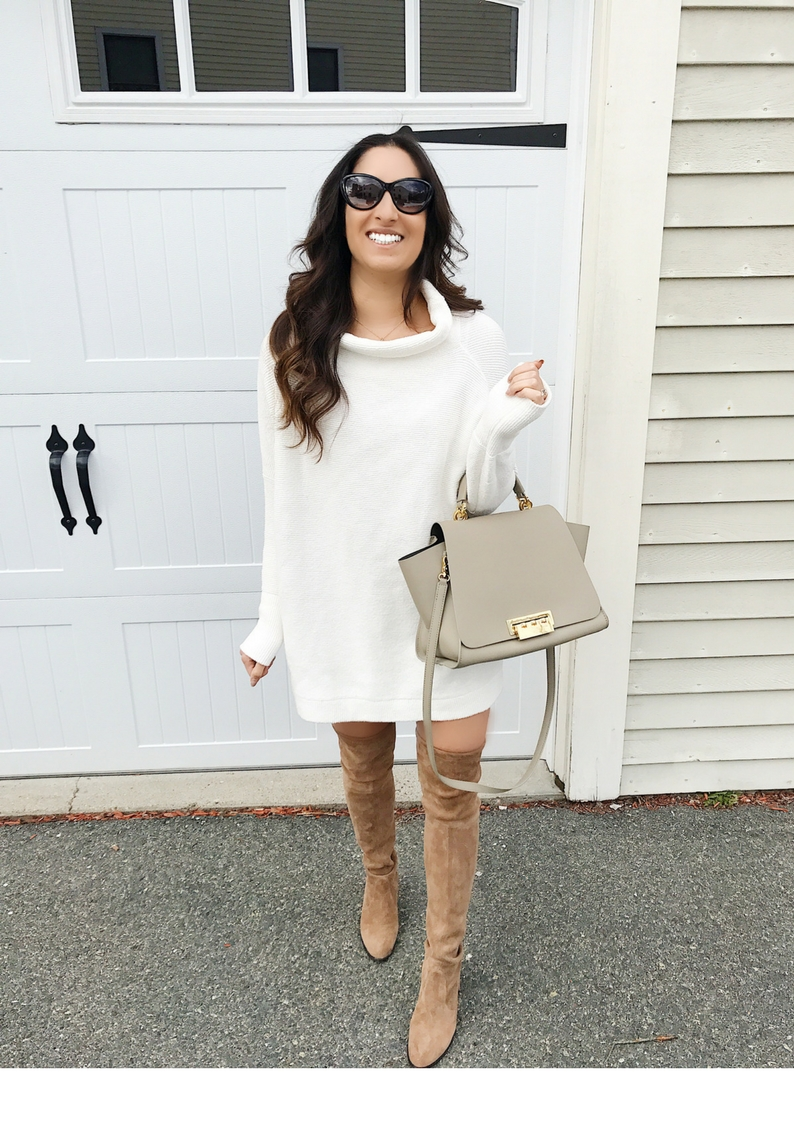 Sweater Dress And Over The Knee Boots Olive Rose
